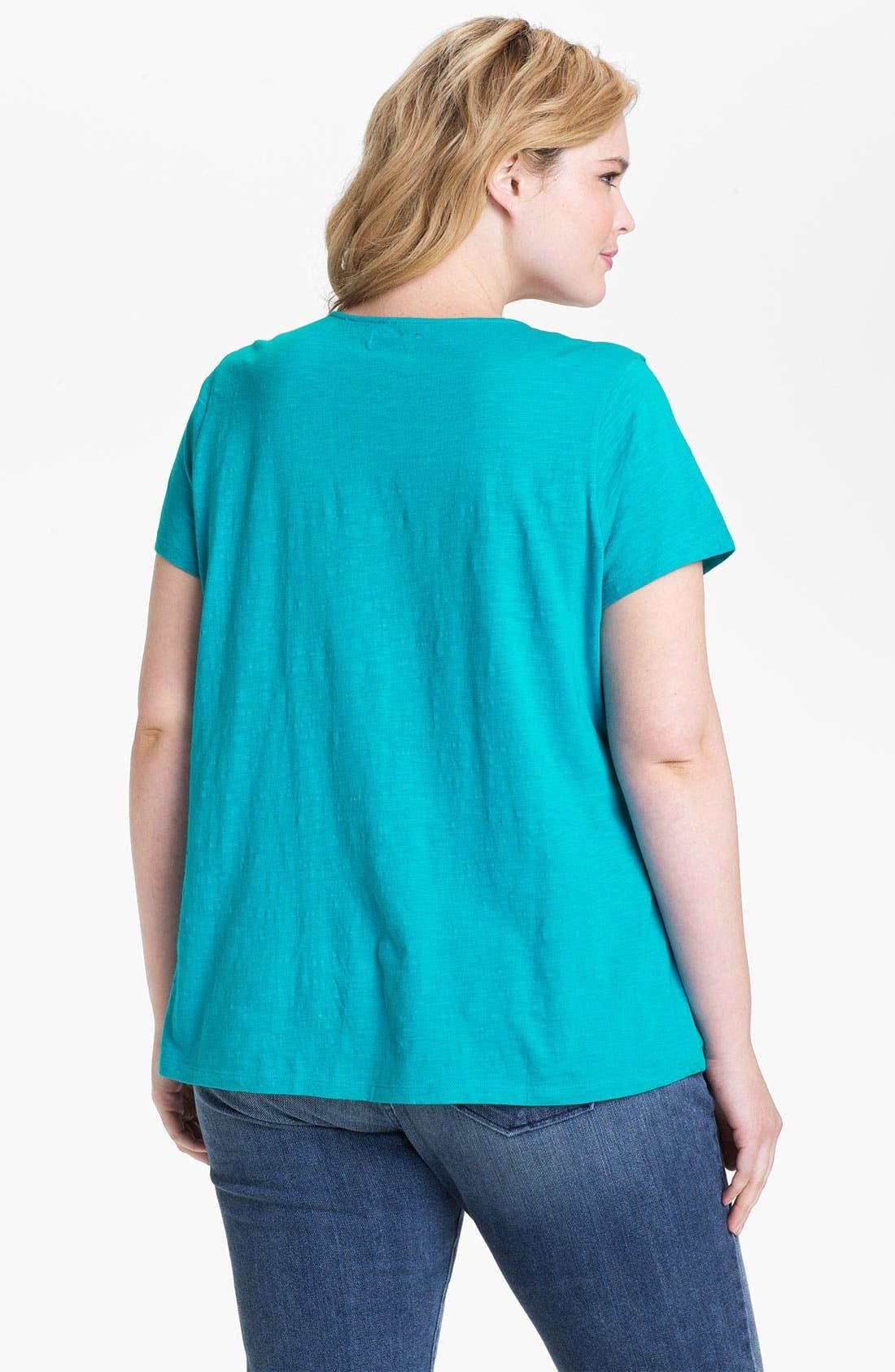 Alternate Image 2  - Lucky Brand 'Adrianna' Embellished Cotton Tee (Plus Size)