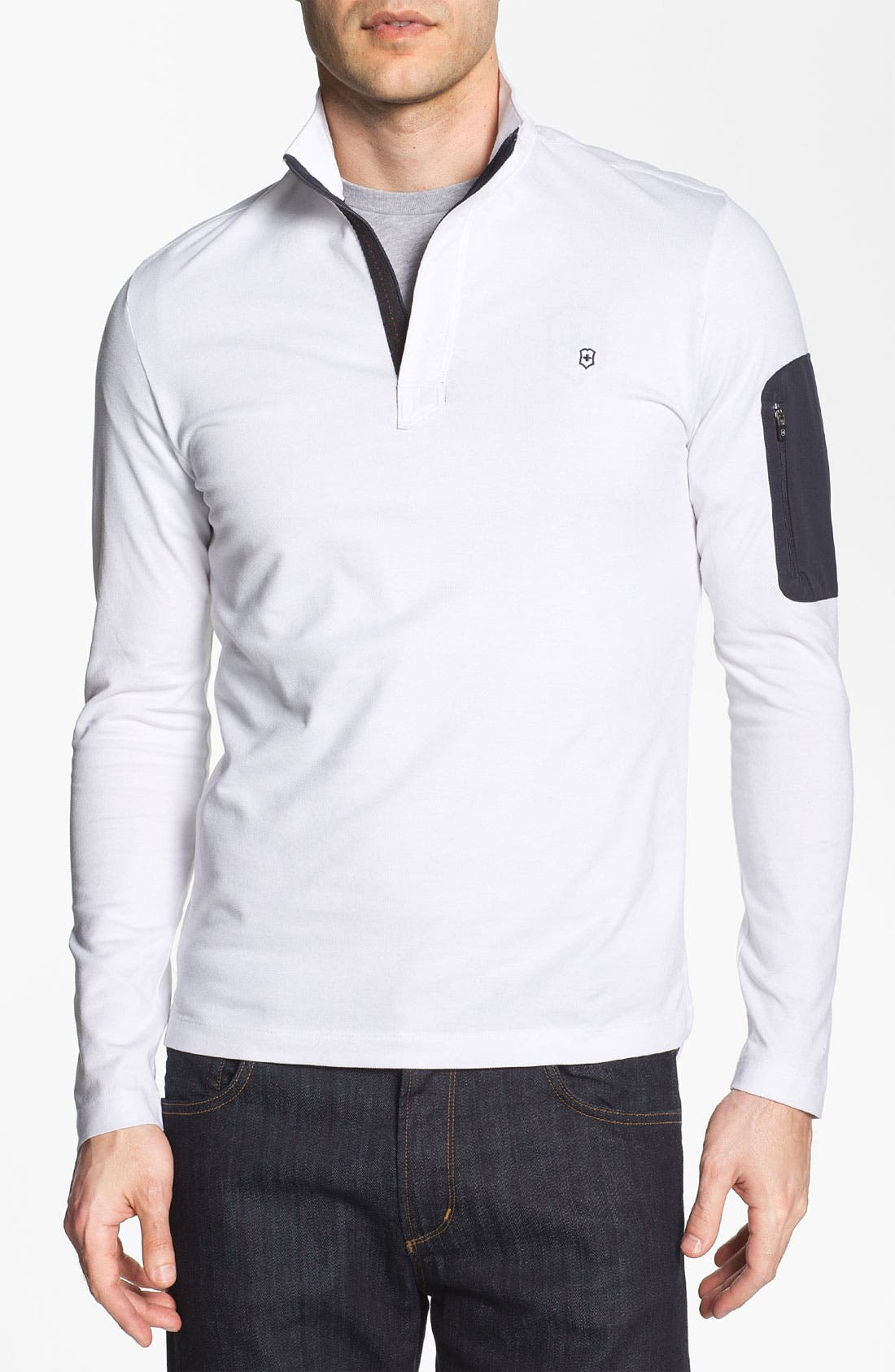 Main Image - Victorinox Swiss Army® Quarter Zip Mock Neck Polo (Online Only)