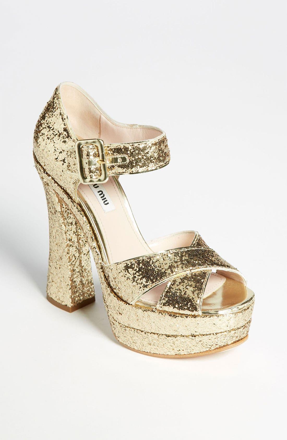 Main Image - Miu Miu Peep Toe Platform Sandal