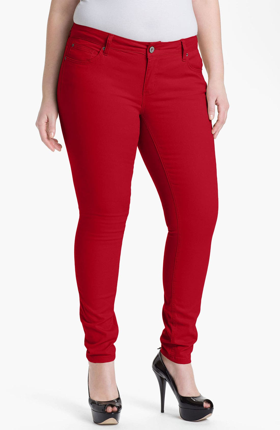 Alternate Image 1 Selected - ZCO Twill Skinny Jeans (Juniors Plus)