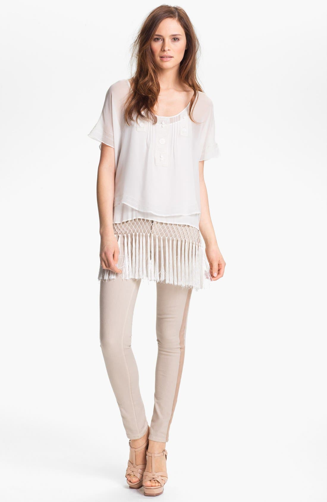 Alternate Image 2  - Haute Hippie Embroidered & Fringe Hem Blouse