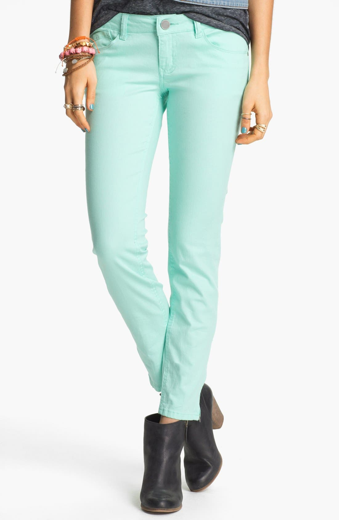 Alternate Image 2  - Jolt Ankle Zip Skinny Jeans (Juniors)
