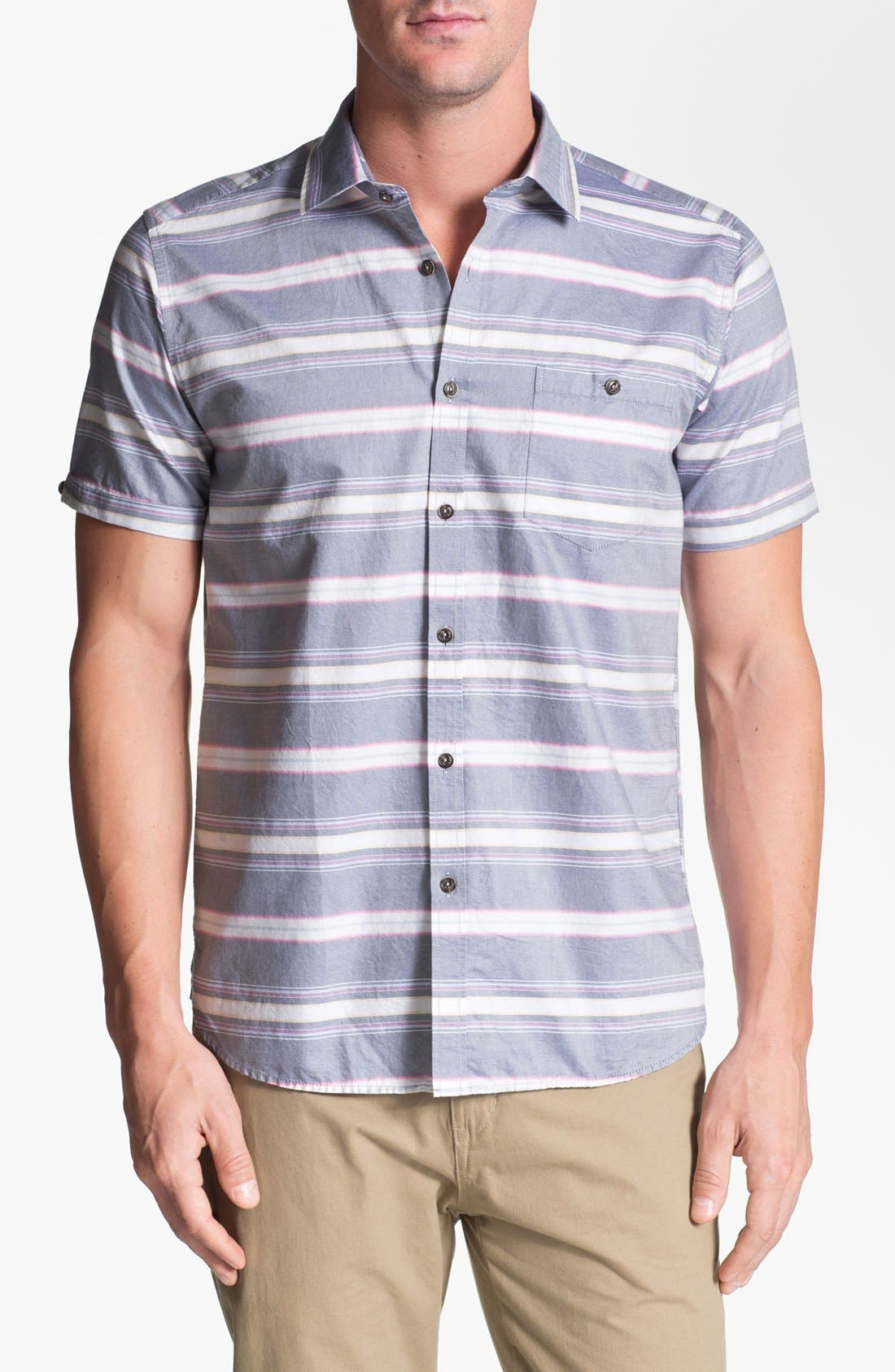 Alternate Image 1 Selected - Ted Baker London 'Sandrog' Trim Fit Short Sleeve Oxford Sport Shirt
