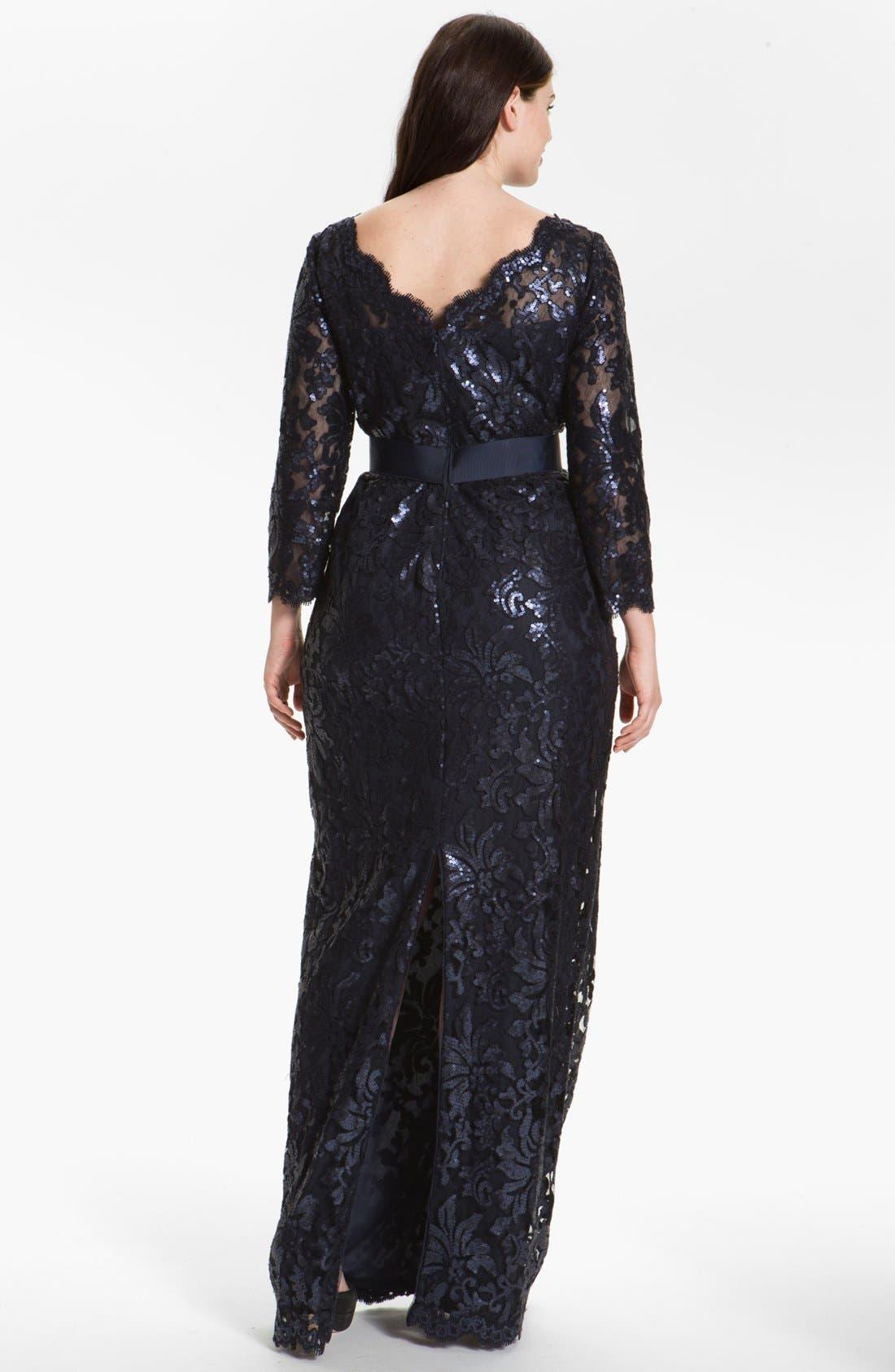 Alternate Image 2  - Tadashi Shoji Embellished Lace Column Gown (Plus Size) (Nordstrom Exclusive)