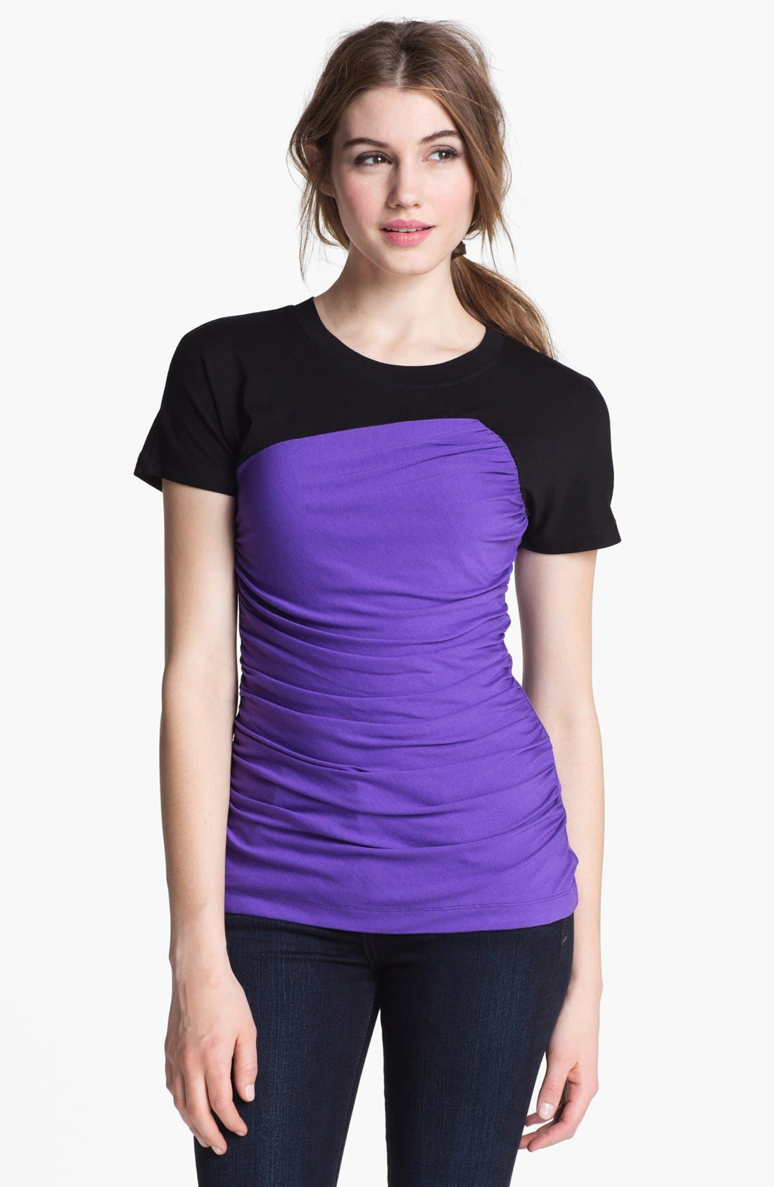 Alternate Image 1 Selected - Vince Camuto Colorblock Ruched Tee (Regular & Petite)