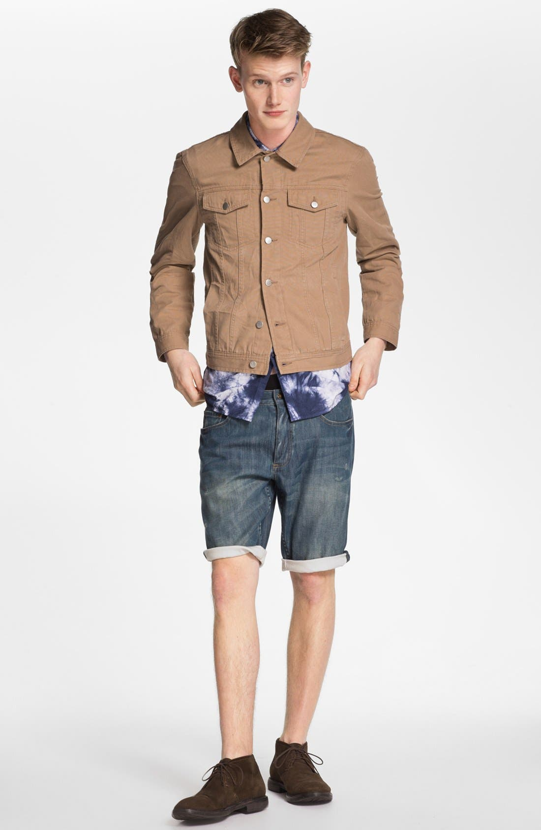 Alternate Image 2  - Topman Washed Denim Shorts