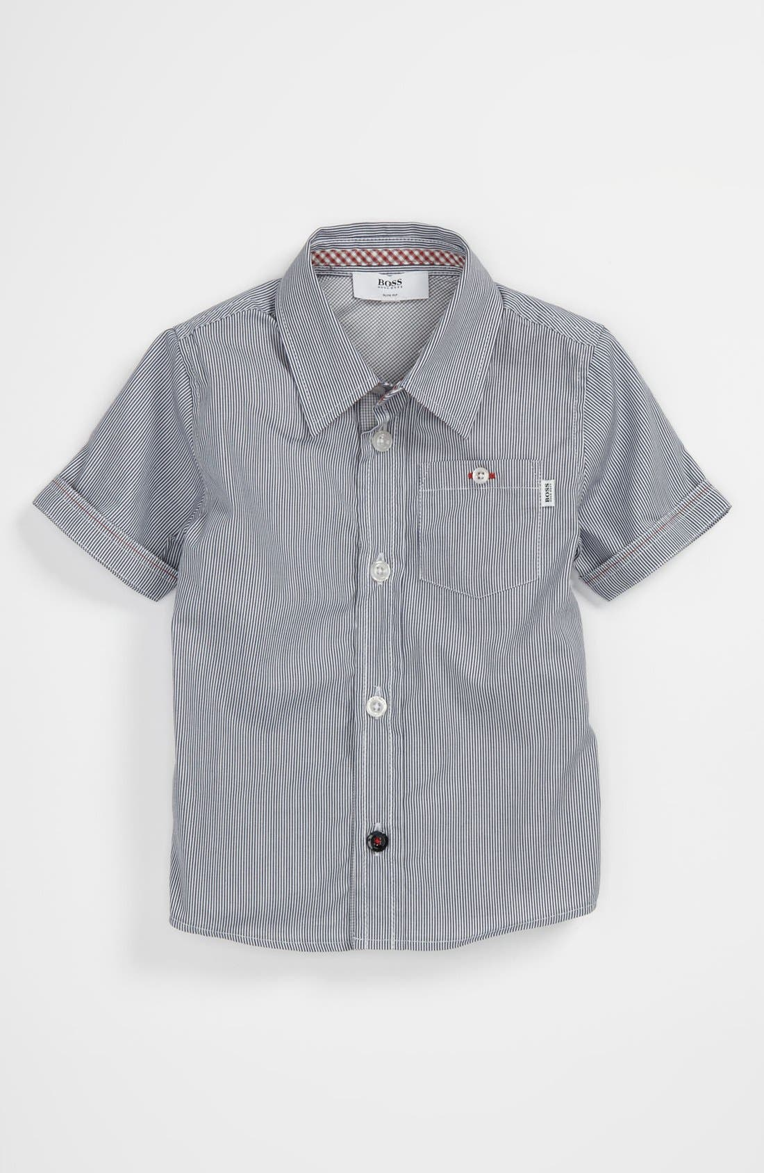 Alternate Image 1 Selected - BOSS Kidswear Pinstripe Shirt (Toddler)