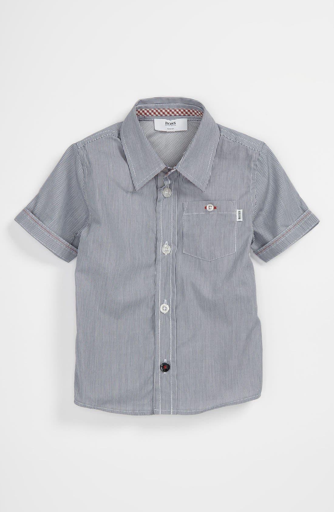 Main Image - BOSS Kidswear Pinstripe Shirt (Toddler)
