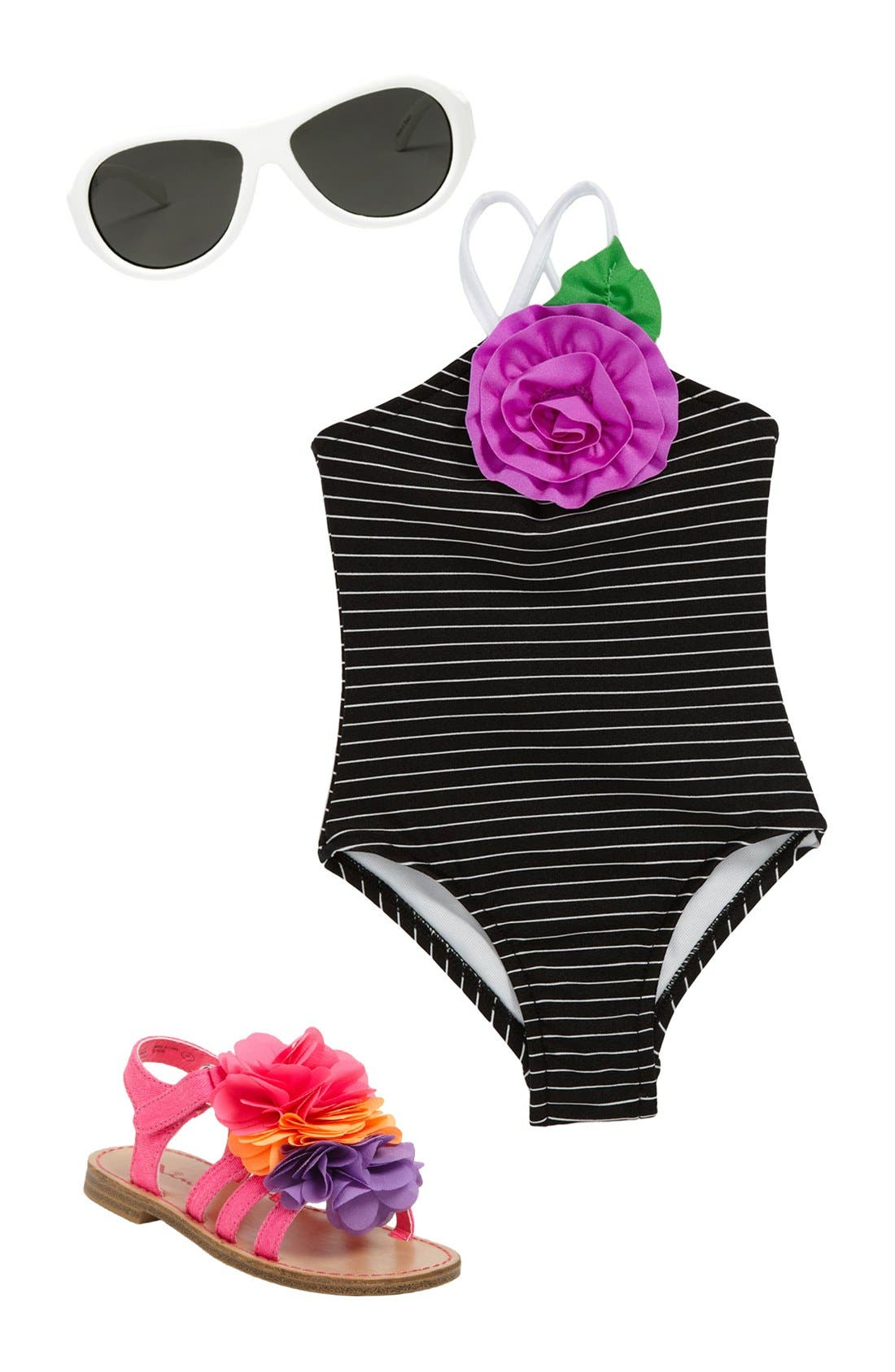 Main Image - Love U Lots Swimsuit, Babiators Sunglasses & Nina Sandal (Infant)