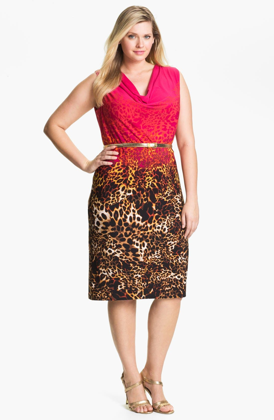 Main Image - Calvin Klein Cowl Neck Print Sheath Dress (Plus Size)