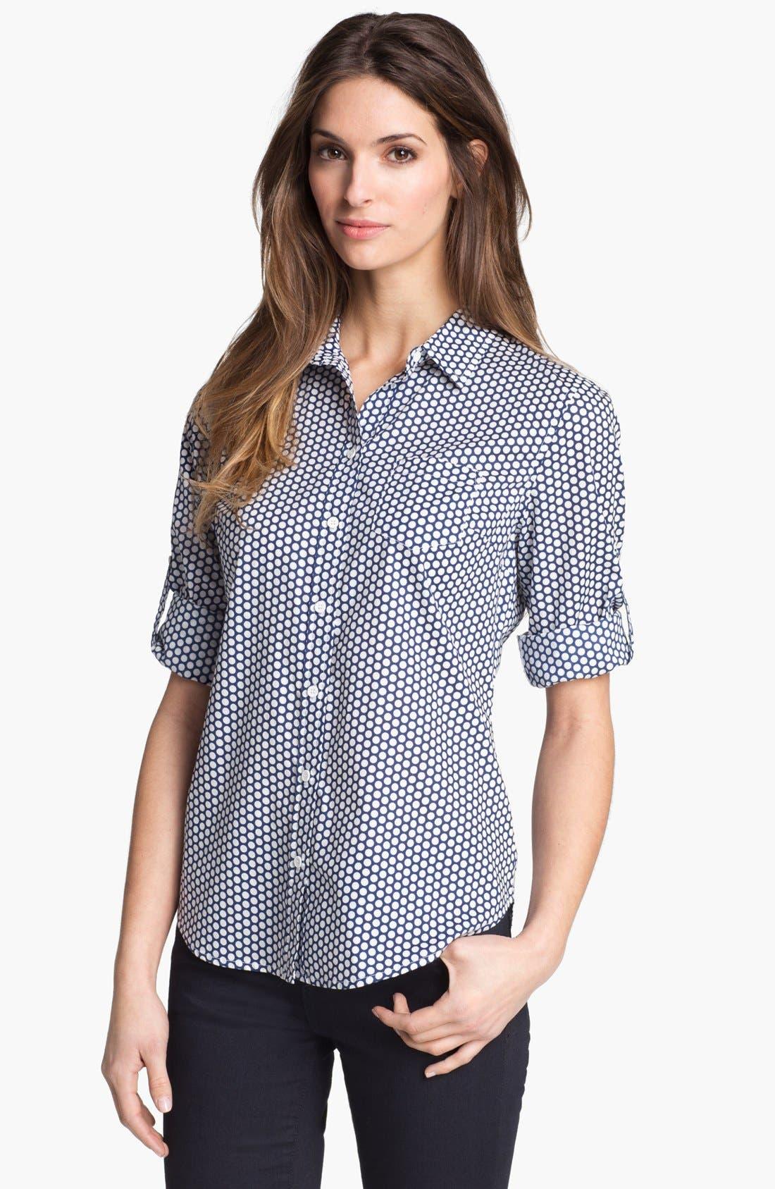 Alternate Image 1 Selected - Sandra Ingrish Roll Sleeve Polka Dot Shirt (Petite)