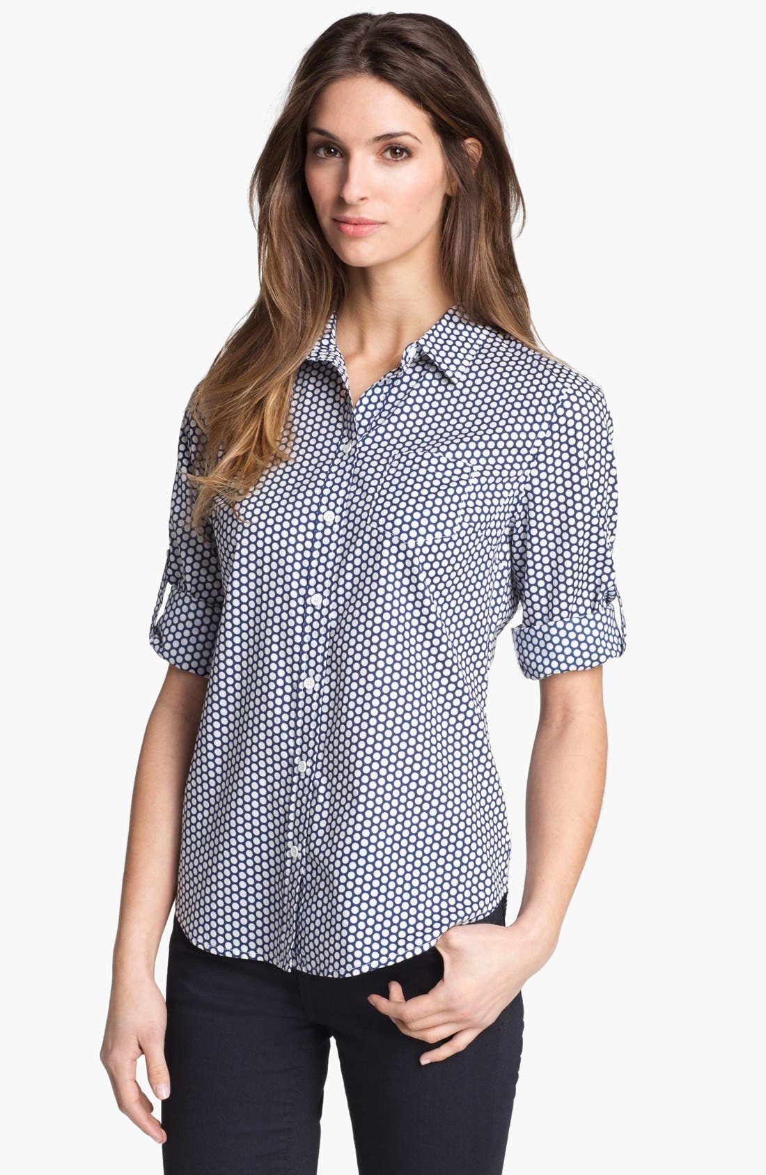 Main Image - Sandra Ingrish Roll Sleeve Polka Dot Shirt (Petite)