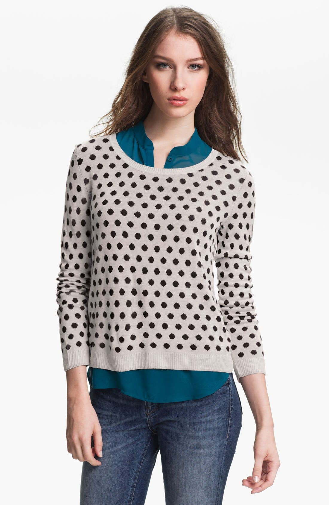 Alternate Image 1 Selected - Kensie Reversible Dot Sweater