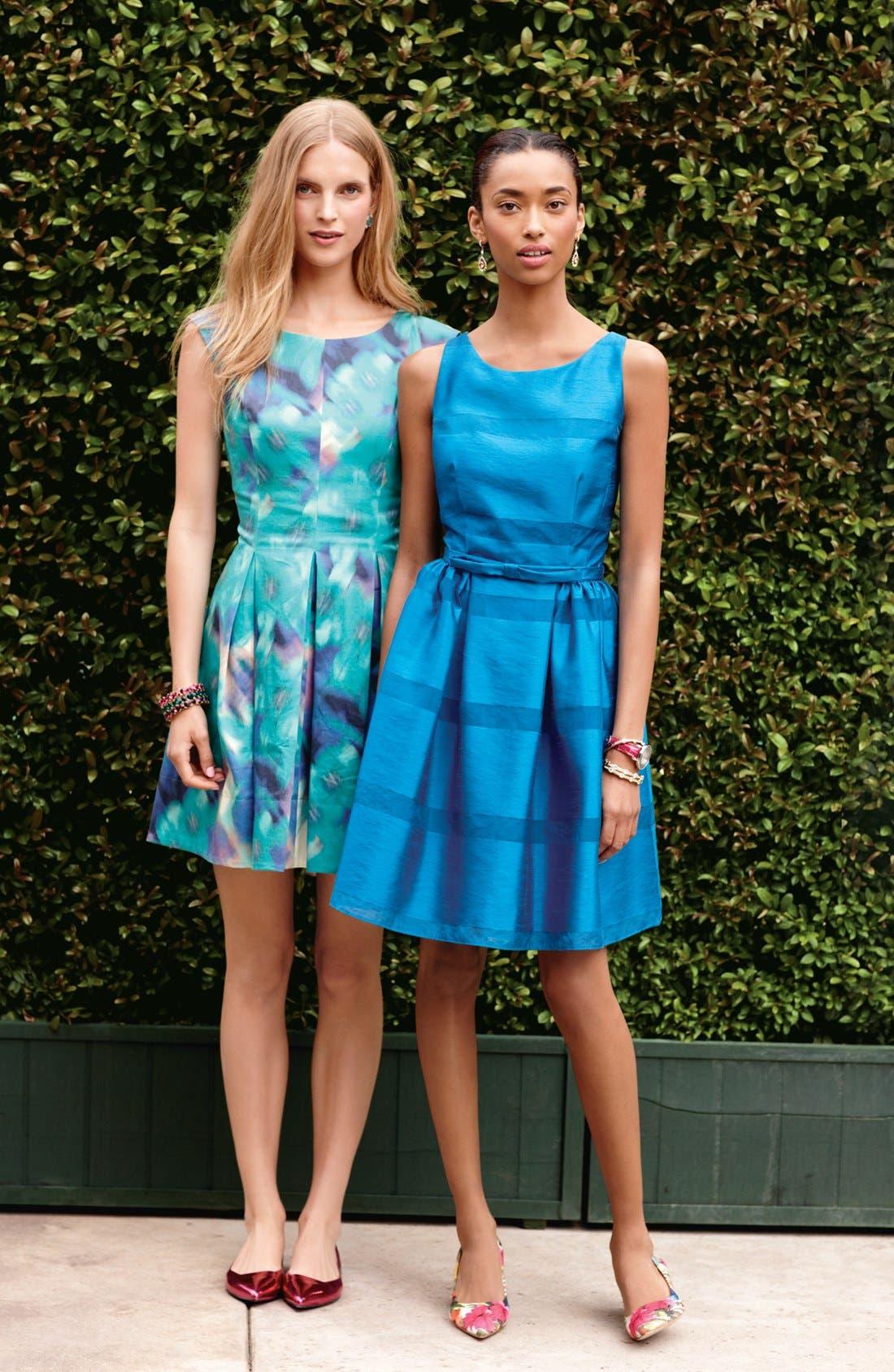 Alternate Image 4  - Taylor Dresses Tonal Stripe Fit & Flare Dress (Regular & Petite)