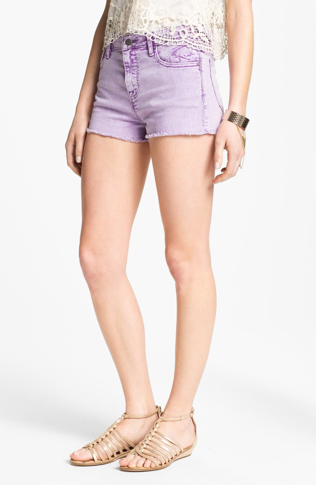 Main Image - Vigoss High Waist Cutoff Denim Shorts (Juniors)