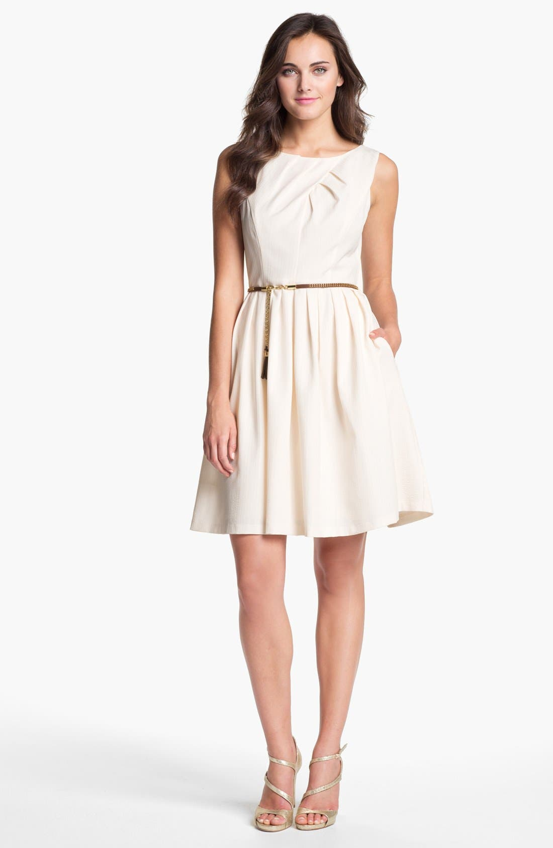 Main Image - Ellen Tracy Pleated Fit & Flare Dress