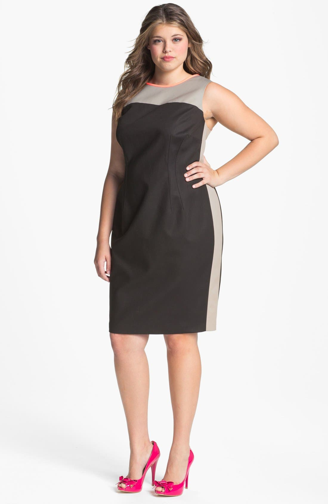 Alternate Image 1 Selected - Tahari Woman 'Dakota' Colorblock Sheath Dress (Plus Size)