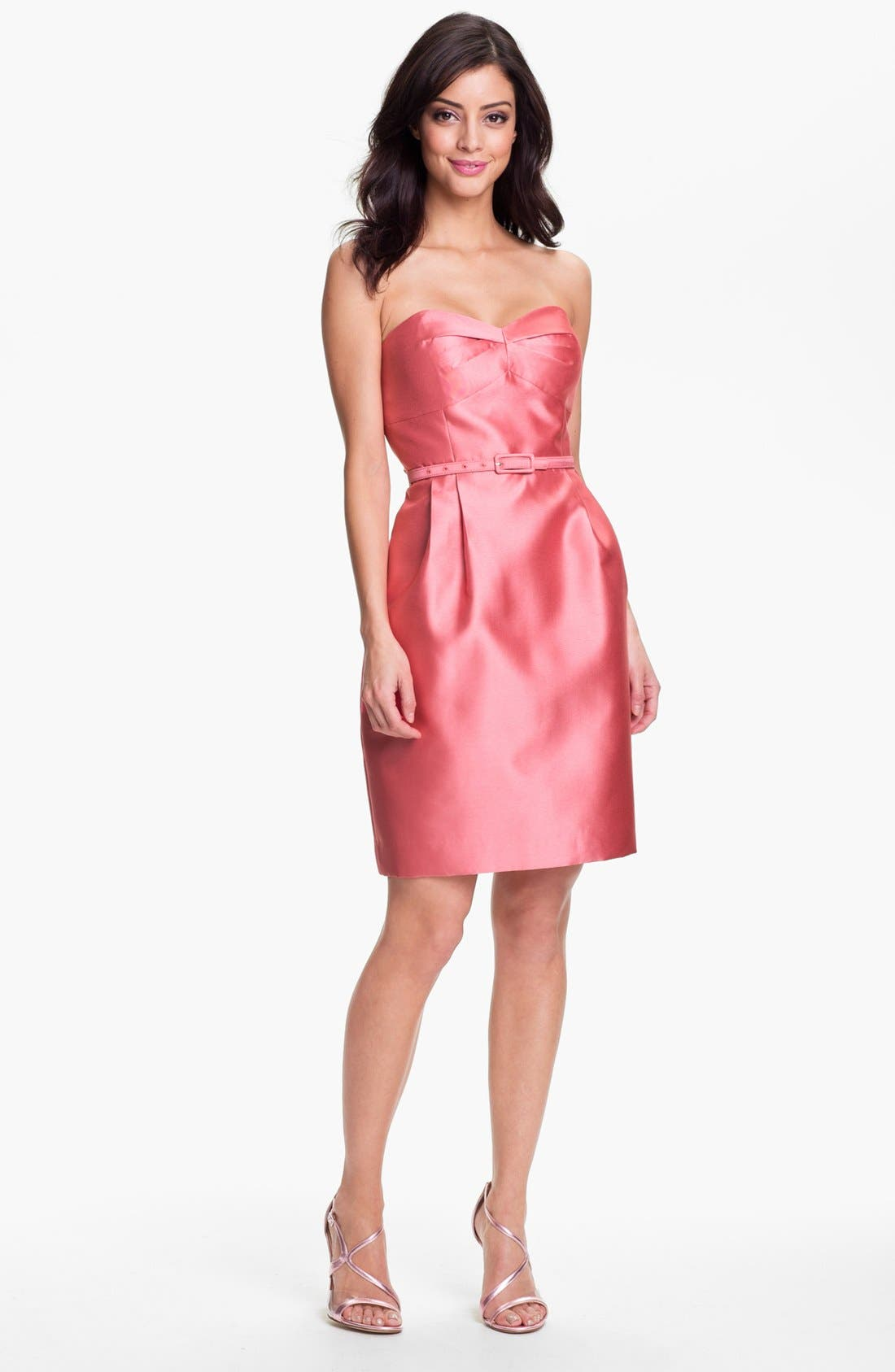 Alternate Image 1 Selected - Eliza J Belted Strapless Faille Dress