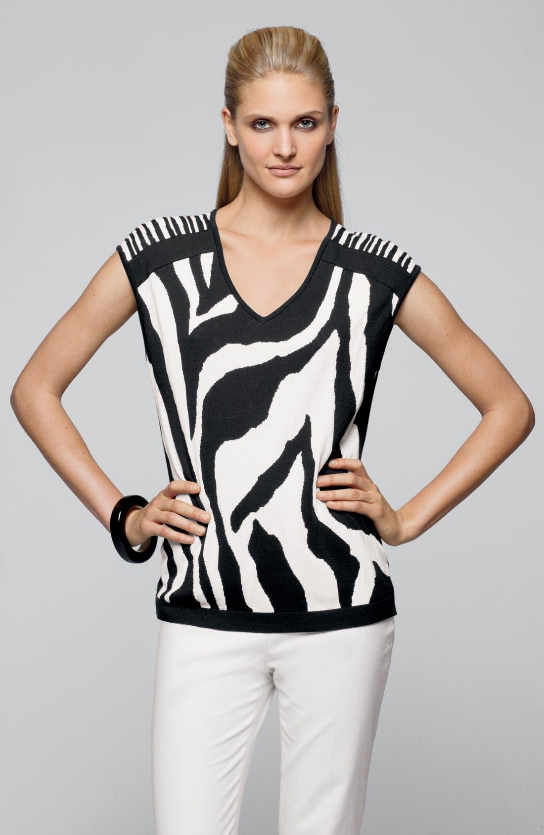 Alternate Image 4  - Lafayette 148 New York Zebra Jacquard Sweater (Online Only)