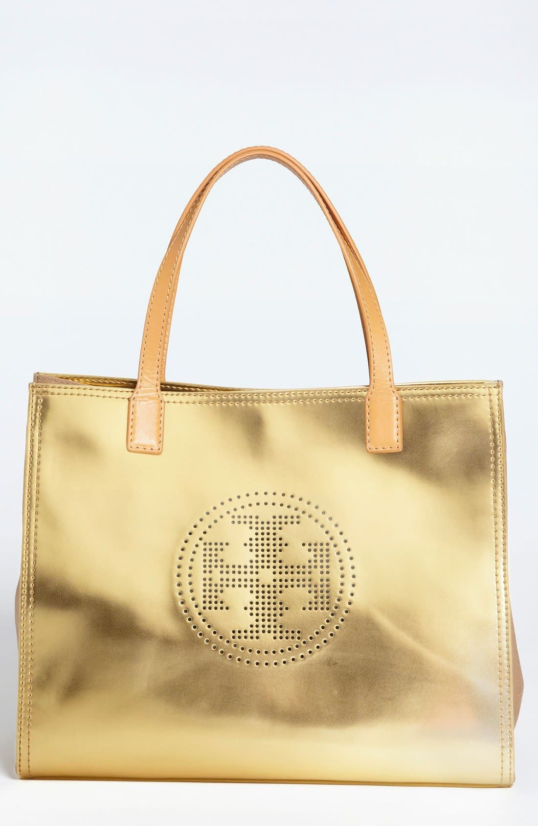 Main Image - Tory Burch 'Small' Perforated Logo Metallic Leather Tote