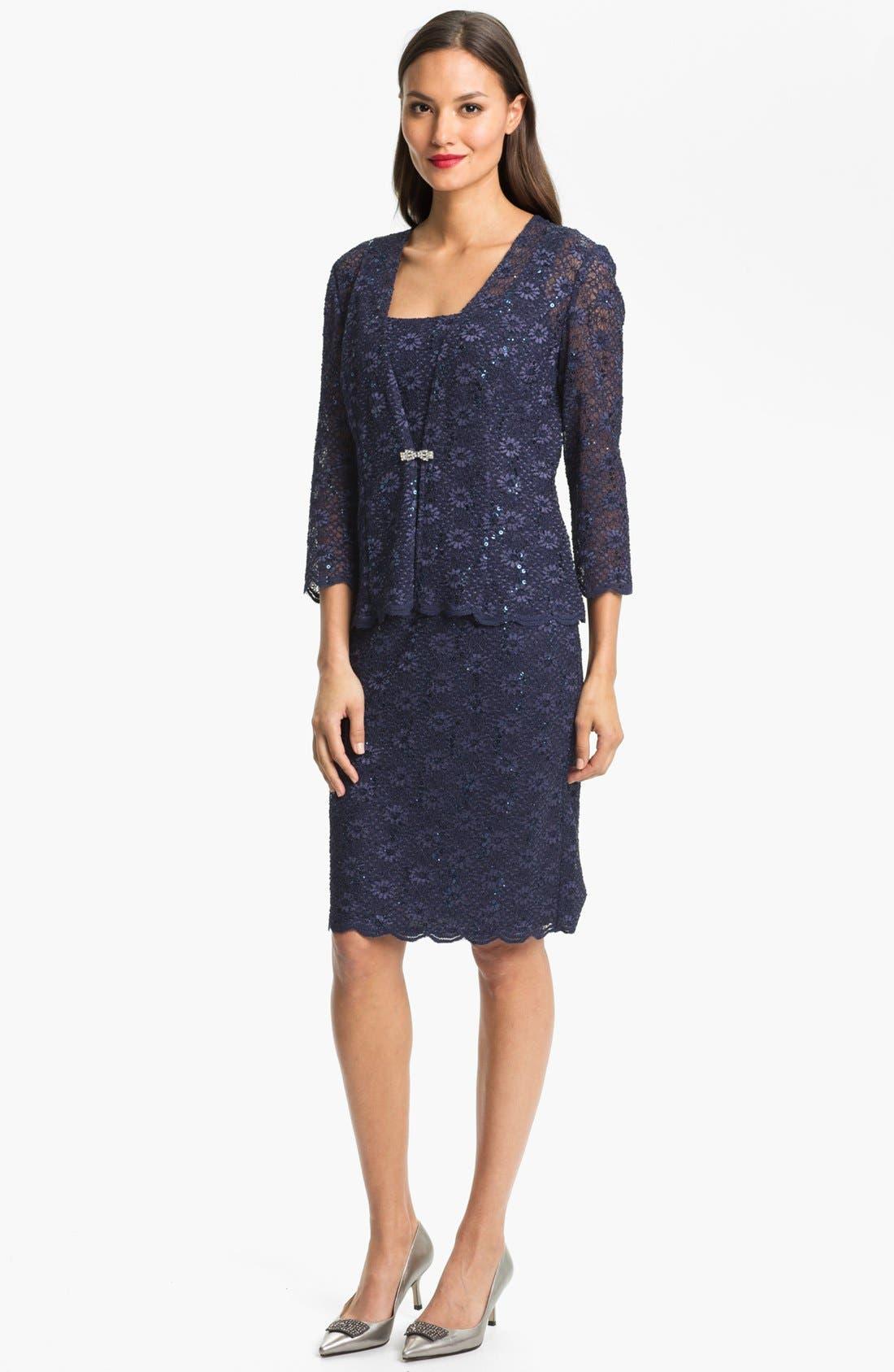 Alternate Image 1 Selected - Alex Evenings Embellished Lace Dress & Jacket (Petite)