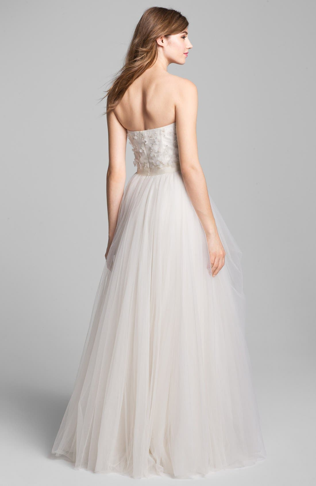 Alternate Image 2  - Roses by Reem Acra 'Coral Bells' Beaded Lace & Tulle Ball Gown (In Stores Only)