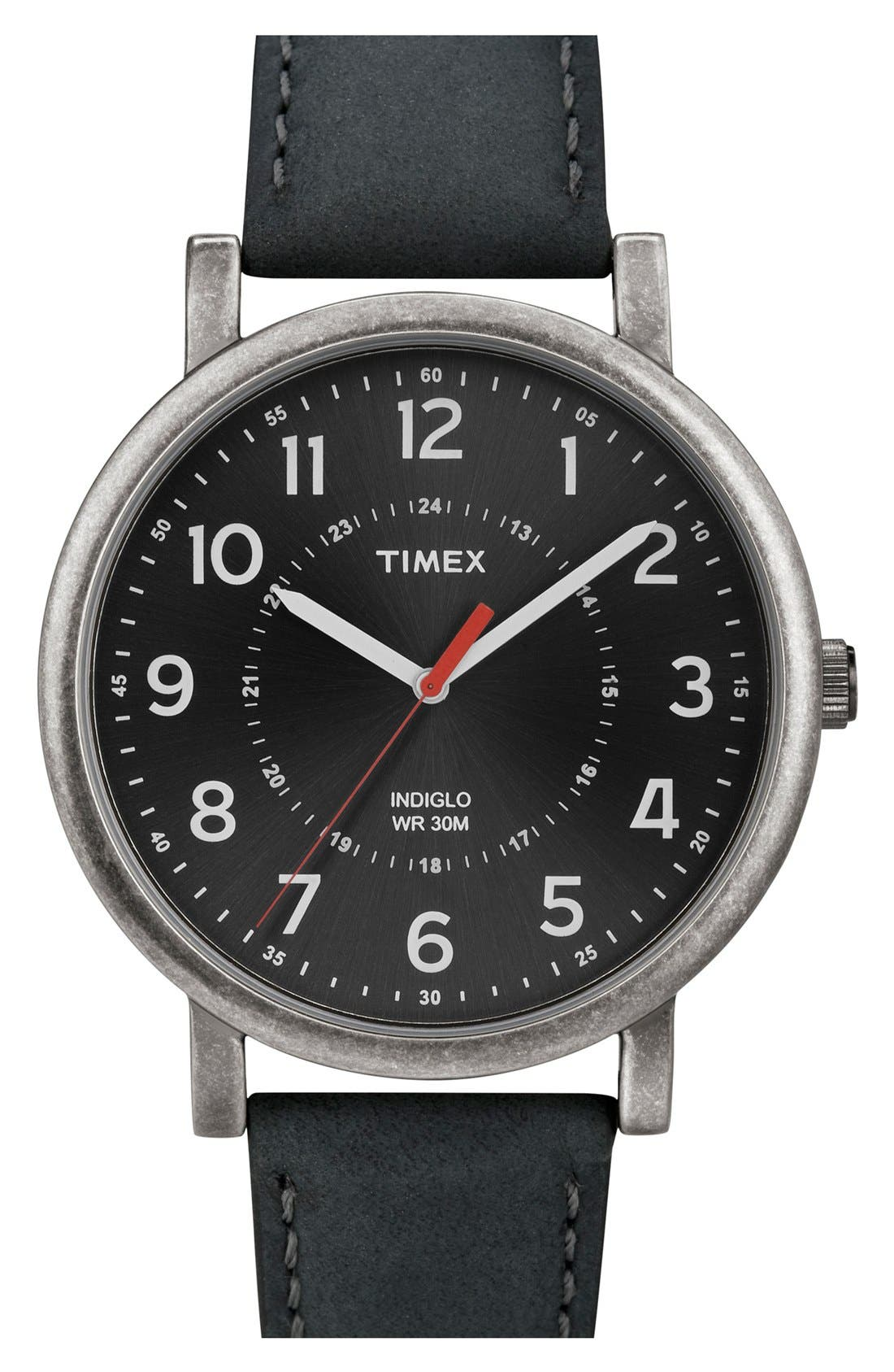 Alternate Image 1 Selected - Timex® Antiqued Case & Leather Strap Watch, 42mm