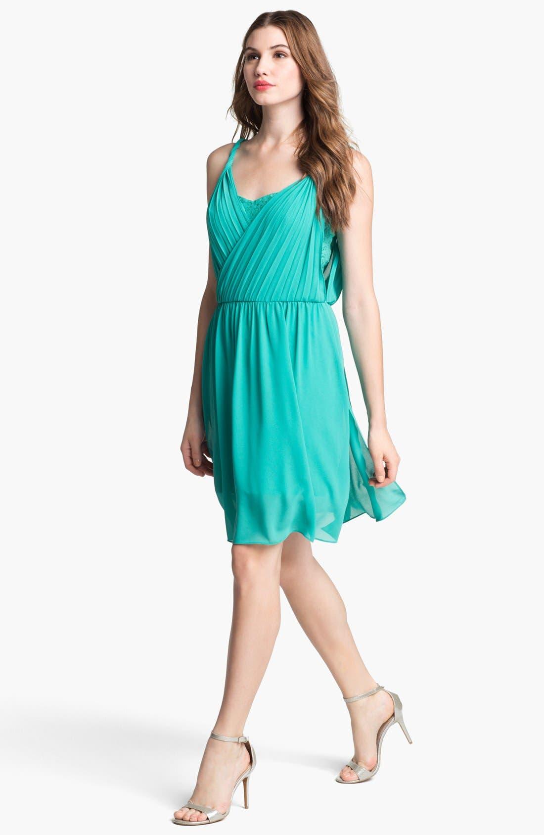 Main Image - Jessica Simpson Lace & Chiffon Surplice Dress