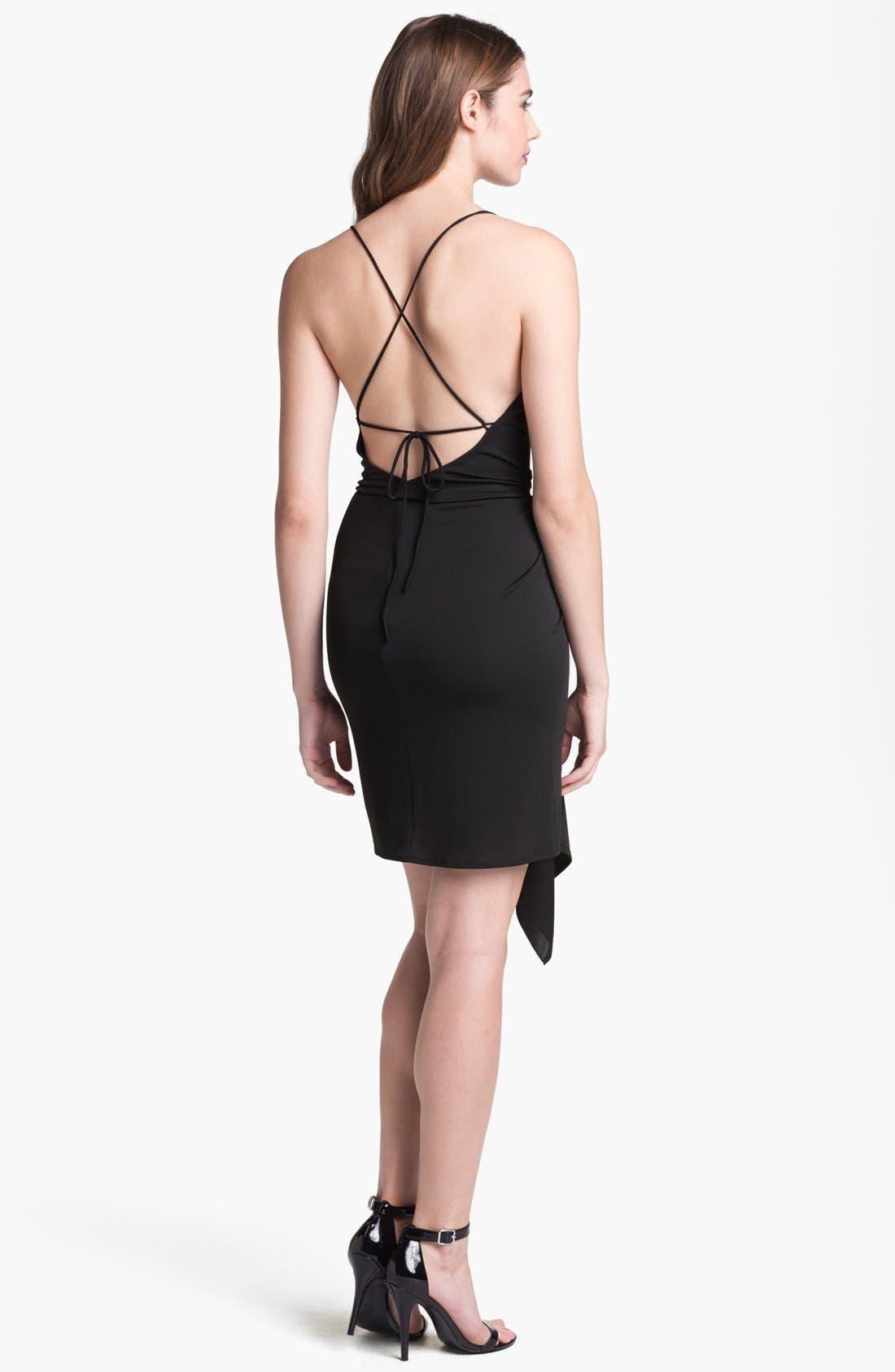 Alternate Image 2  - BCBGMAXAZRIA Cowl Neck Side Draped Jersey Dress