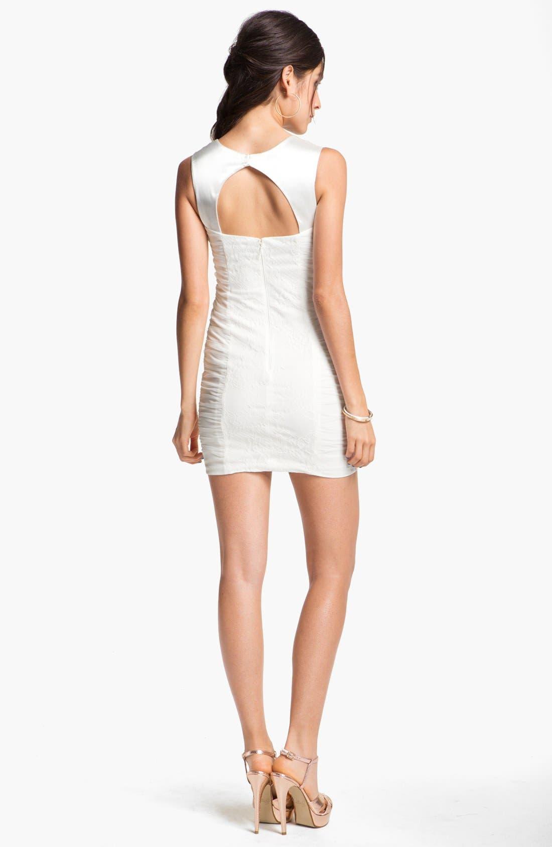Alternate Image 2  - Hailey Logan Lace Panel Body-Con Dress (Juniors) (Online Exclusive)