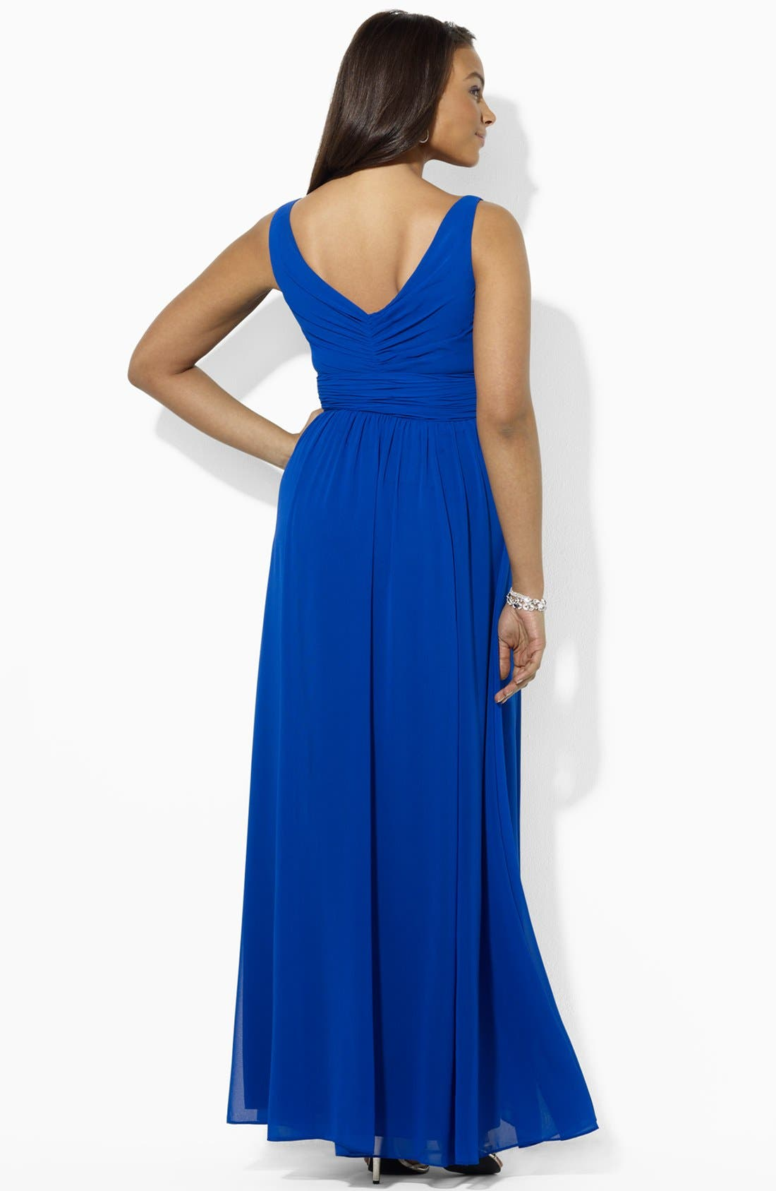 Alternate Image 3  - Lauren Ralph Lauren Embellished Surplice Chiffon Gown (Plus Size)