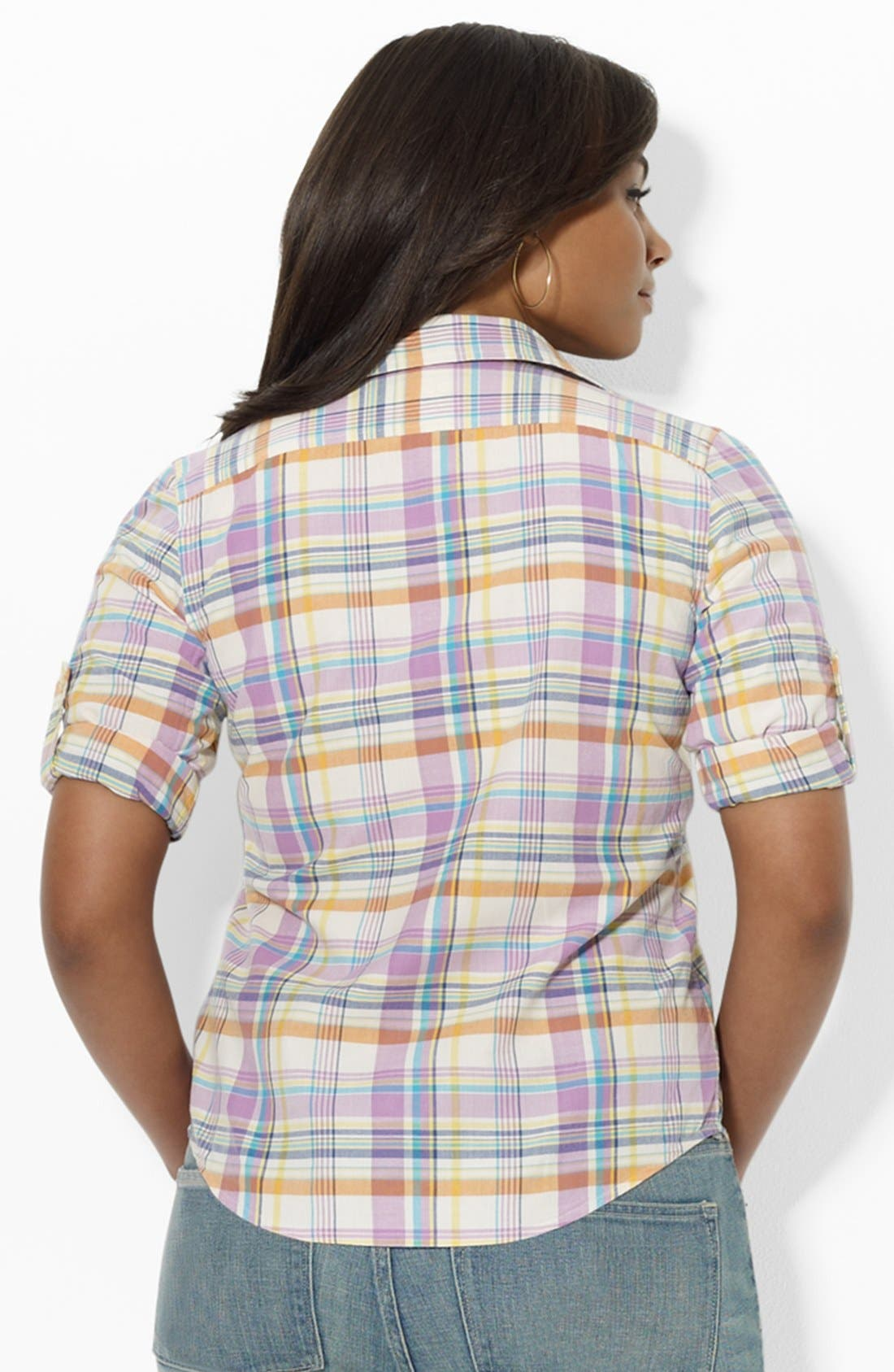 Alternate Image 2  - Lauren Ralph Lauren Fitted Print Shirt (Plus Size)