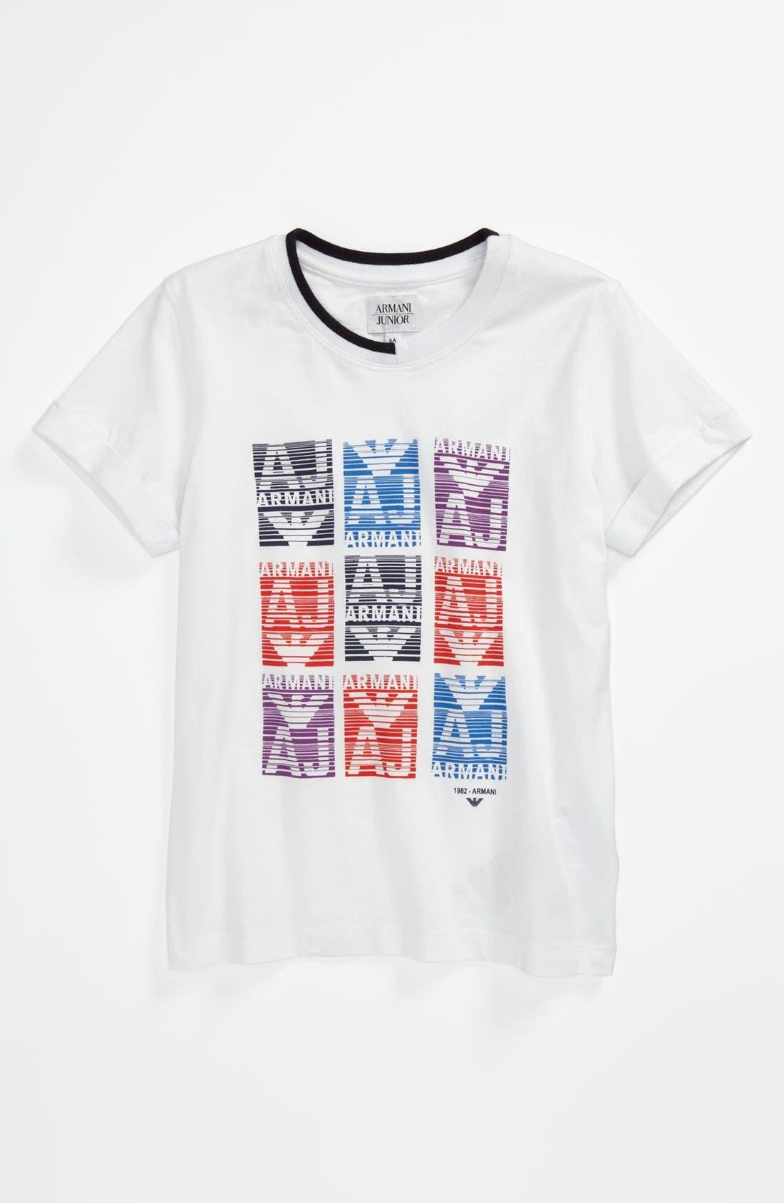 Alternate Image 1 Selected - Armani Junior Logo Block T-Shirt (Toddler & Little Boys)