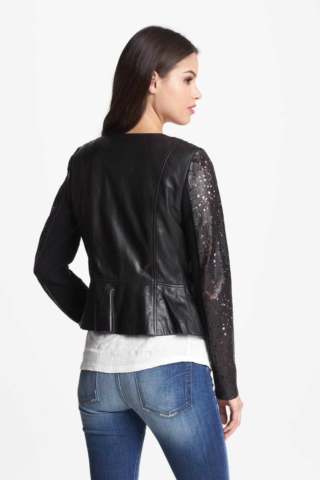 Alternate Image 2  - Hinge® Laser Cut Leather Jacket