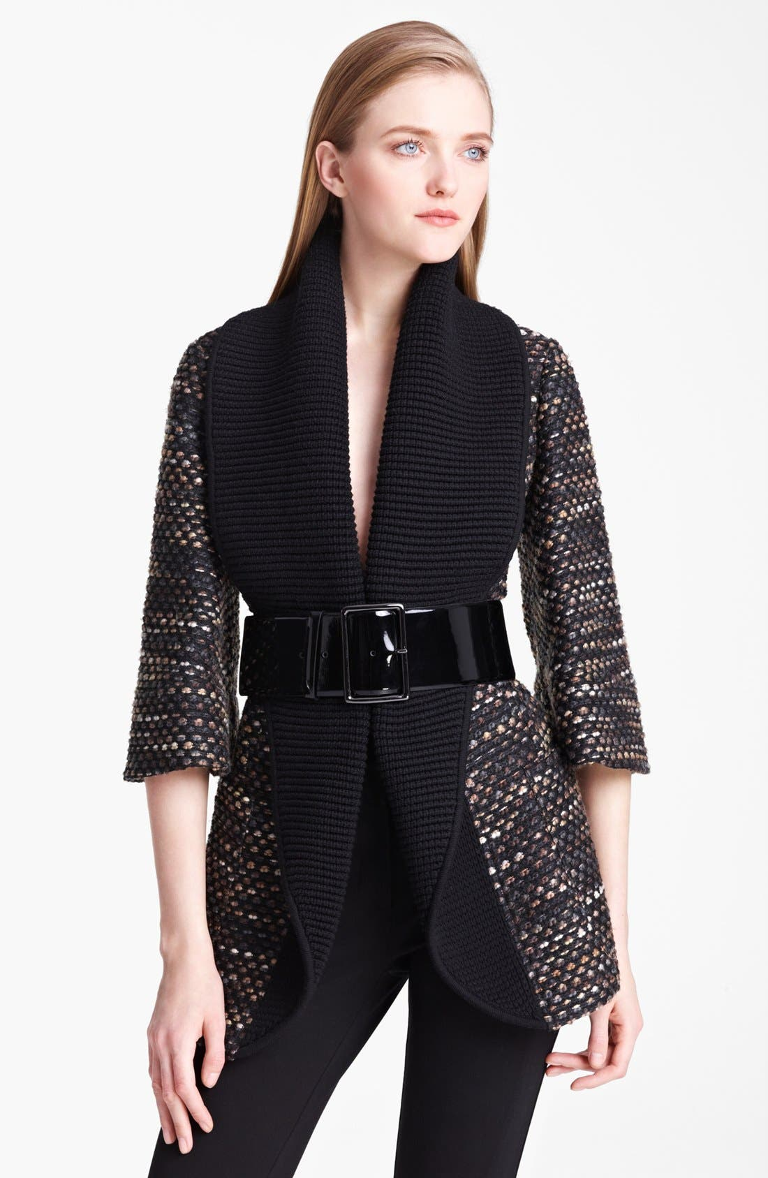 Main Image - Armani Collezioni Belted Tweed Knit Coat