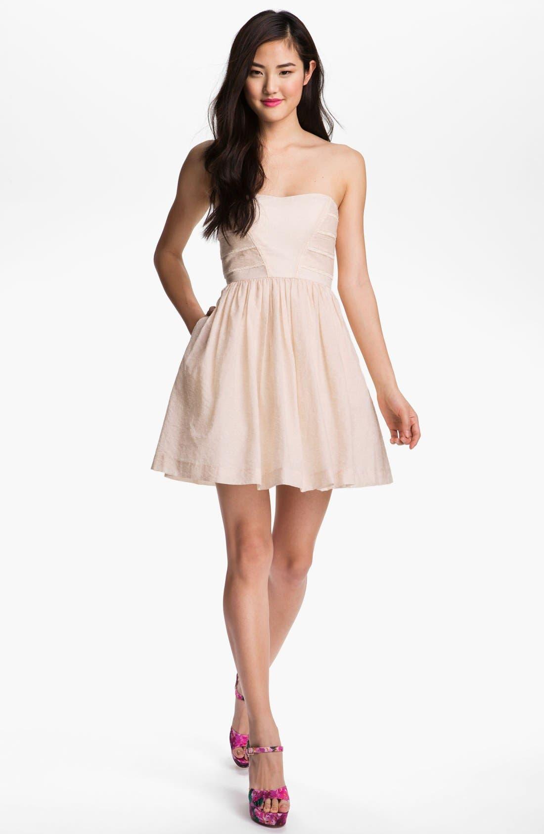 Main Image - Jessica Simpson Lace Trim Fit & Flare Dress