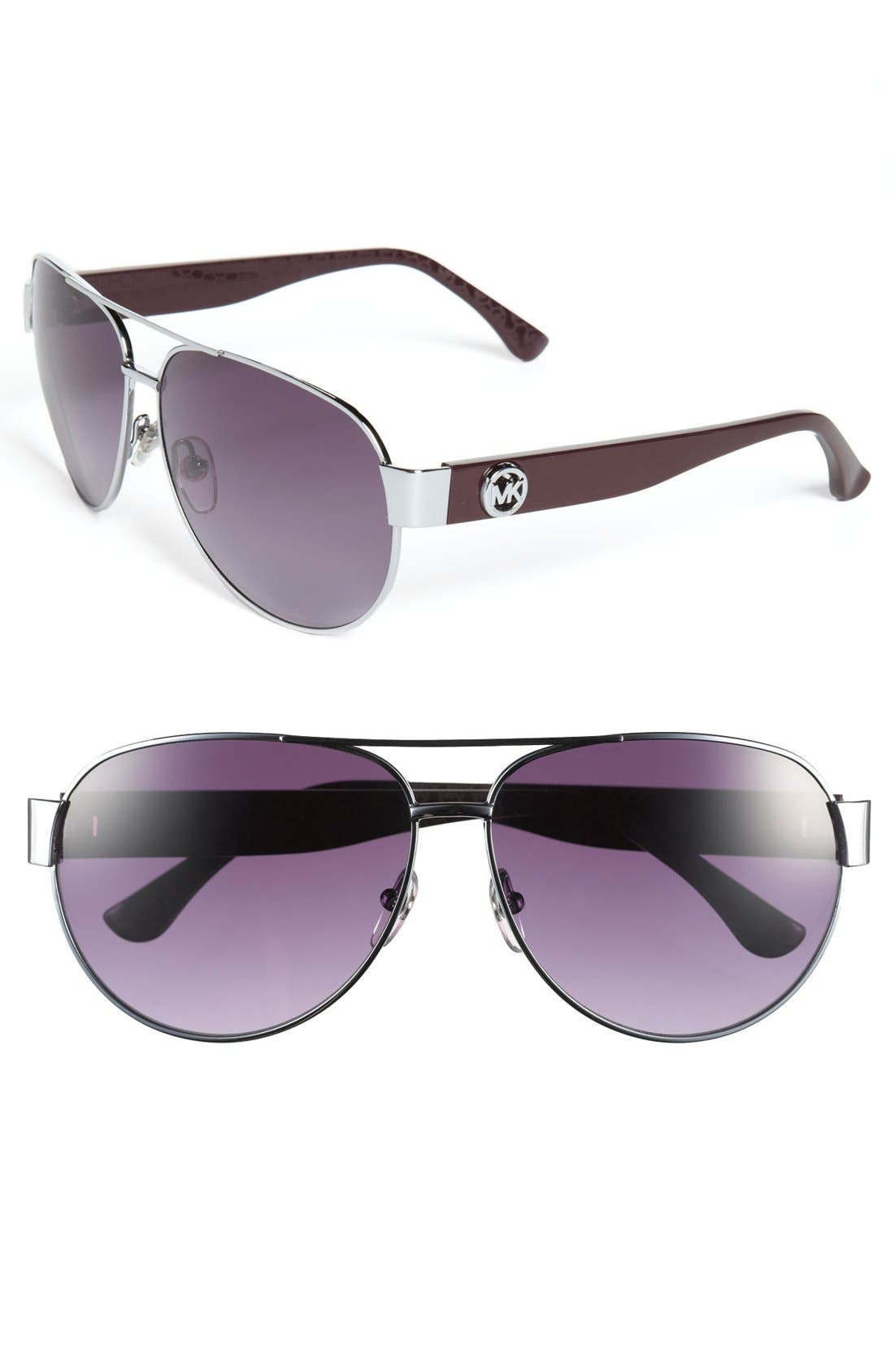 Alternate Image 1 Selected - MICHAEL Michael Kors 'Reese' 60mm Metal Aviator Sunglasses