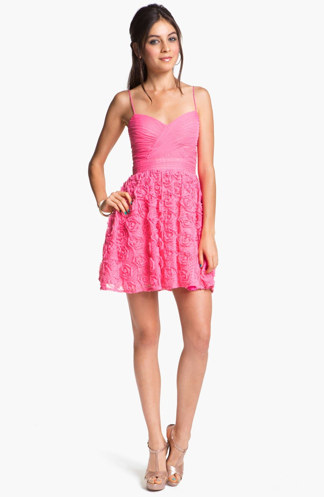Alternate Image 1 Selected - Hailey Logan Rosette Party Dress (Juniors) (Online Only)