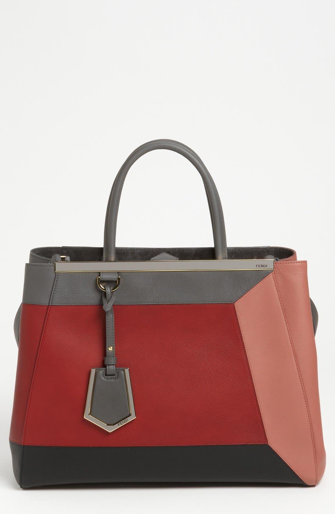 Alternate Image 1 Selected - Fendi 'Geometric 2Jours - Medium' Leather Shopper