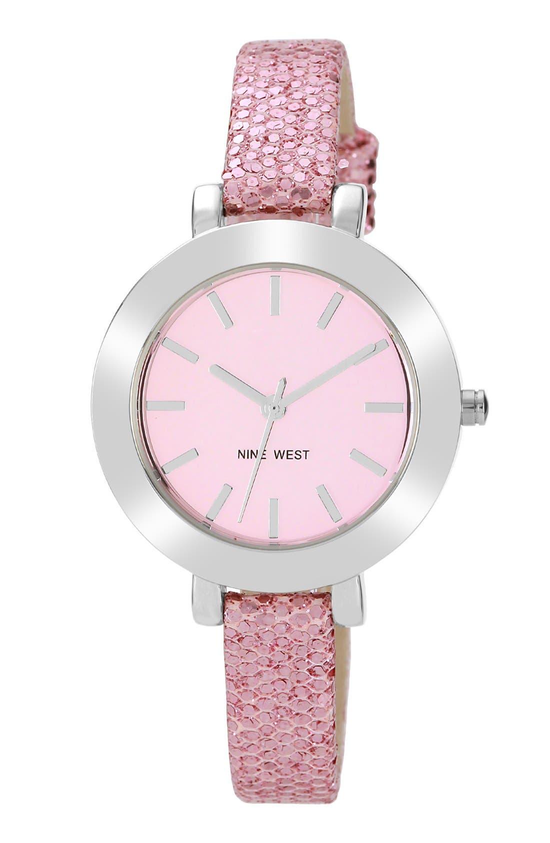 Main Image - Nine West Round Skinny Glitter Strap Watch, 35mm
