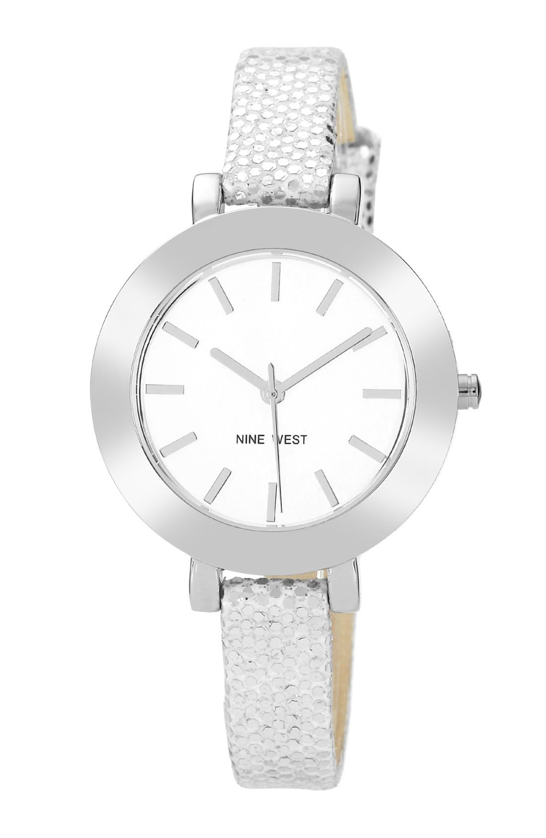 Main Image - Nine West Round Skinny Glitter Strap Watch, 35mm