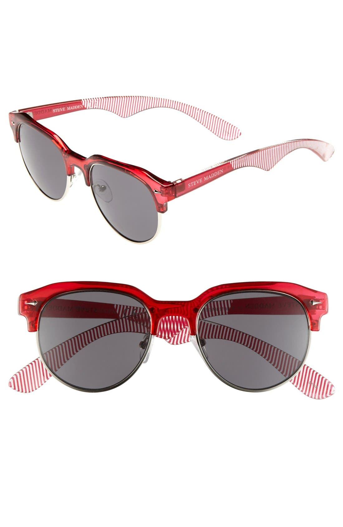 Retro Sunglasses,                             Main thumbnail 1, color,                             Red/ Silver