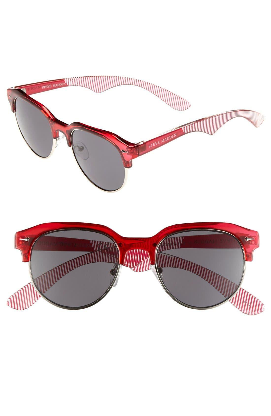 Retro Sunglasses,                         Main,                         color, Red/ Silver