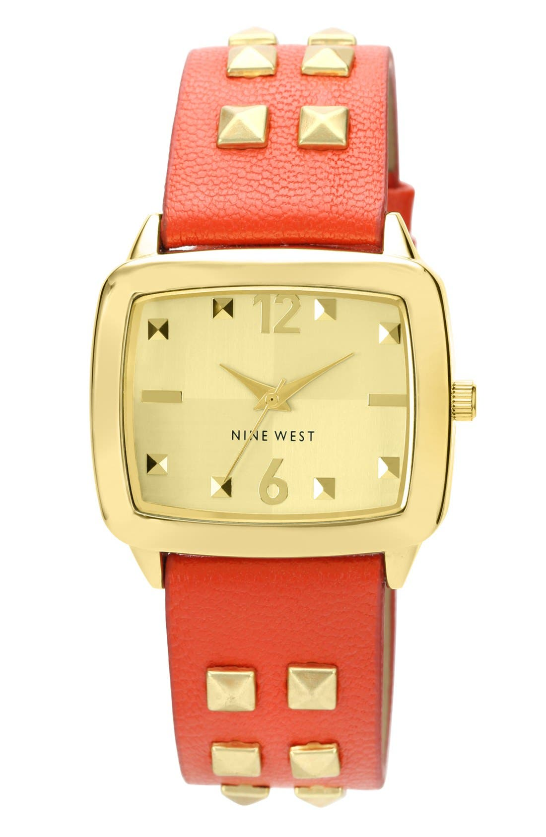 Main Image - Nine West Studded Strap Watch, 36mm x 31mm
