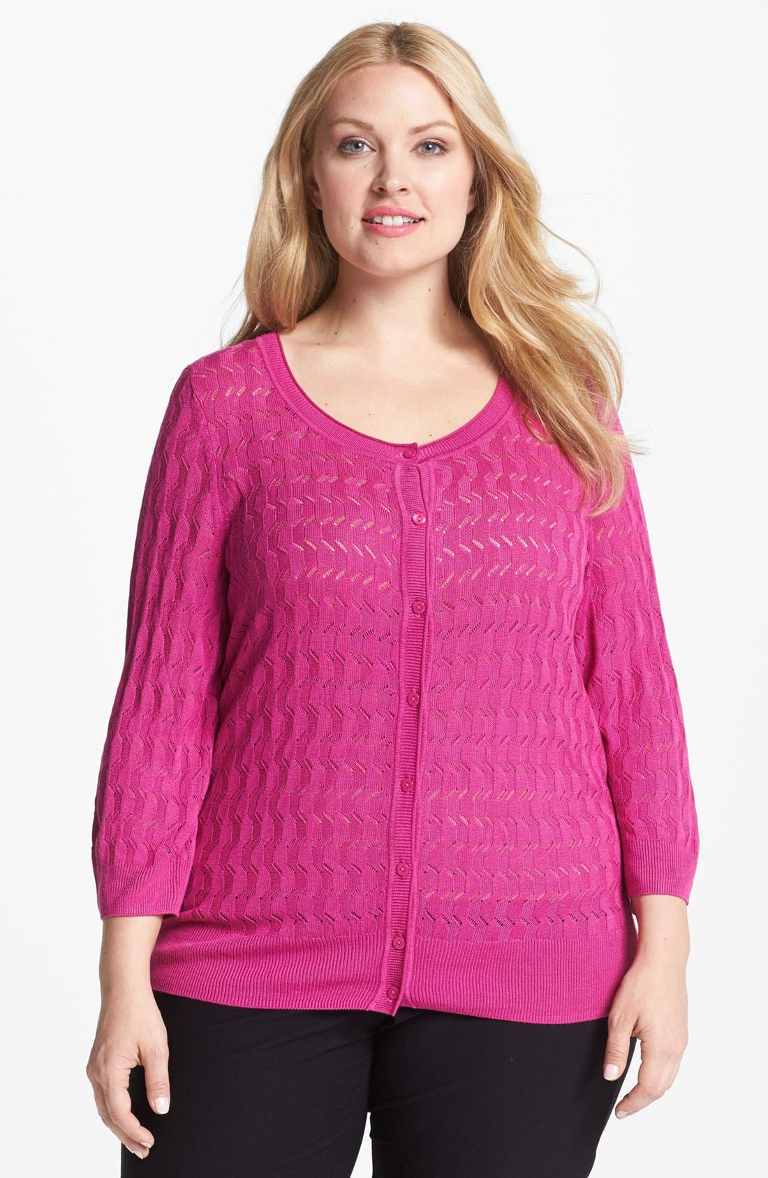 Main Image - Sejour 'Novelty' Pointelle Cardigan (Plus Size)