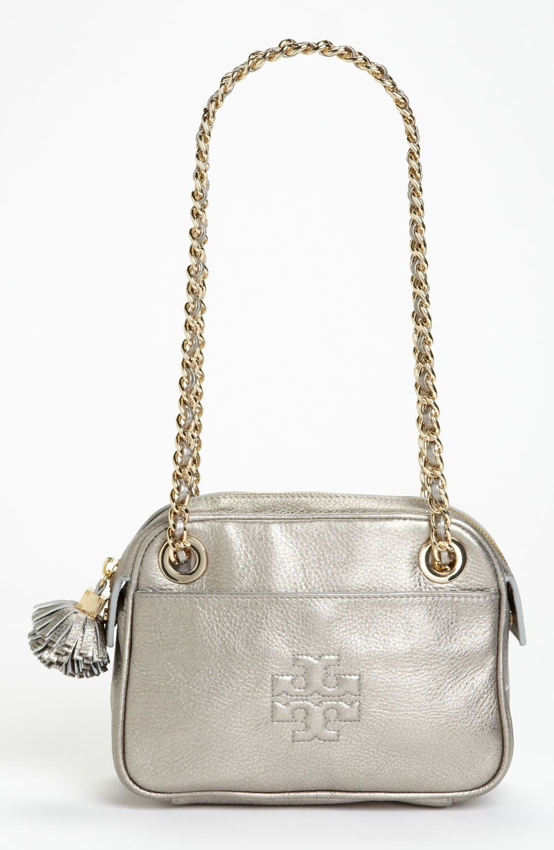 Alternate Image 1 Selected - Tory Burch 'Thea' Metallic Leather Crossbody Bag