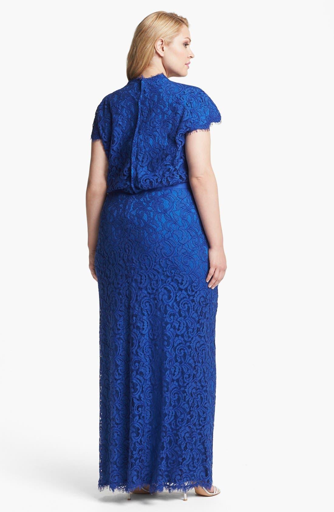 Alternate Image 2  - Tadashi Shoji Grosgrain Trim Lace Gown (Plus Size)