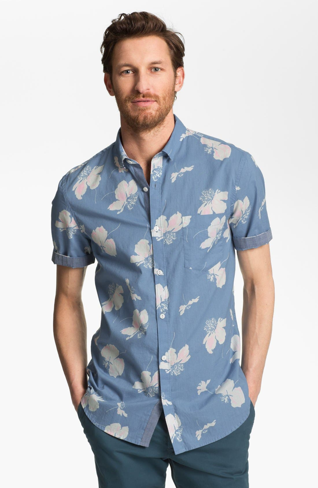 Alternate Image 1 Selected - French Connection Slim Fit Short Sleeve Sport Shirt (Online Only)