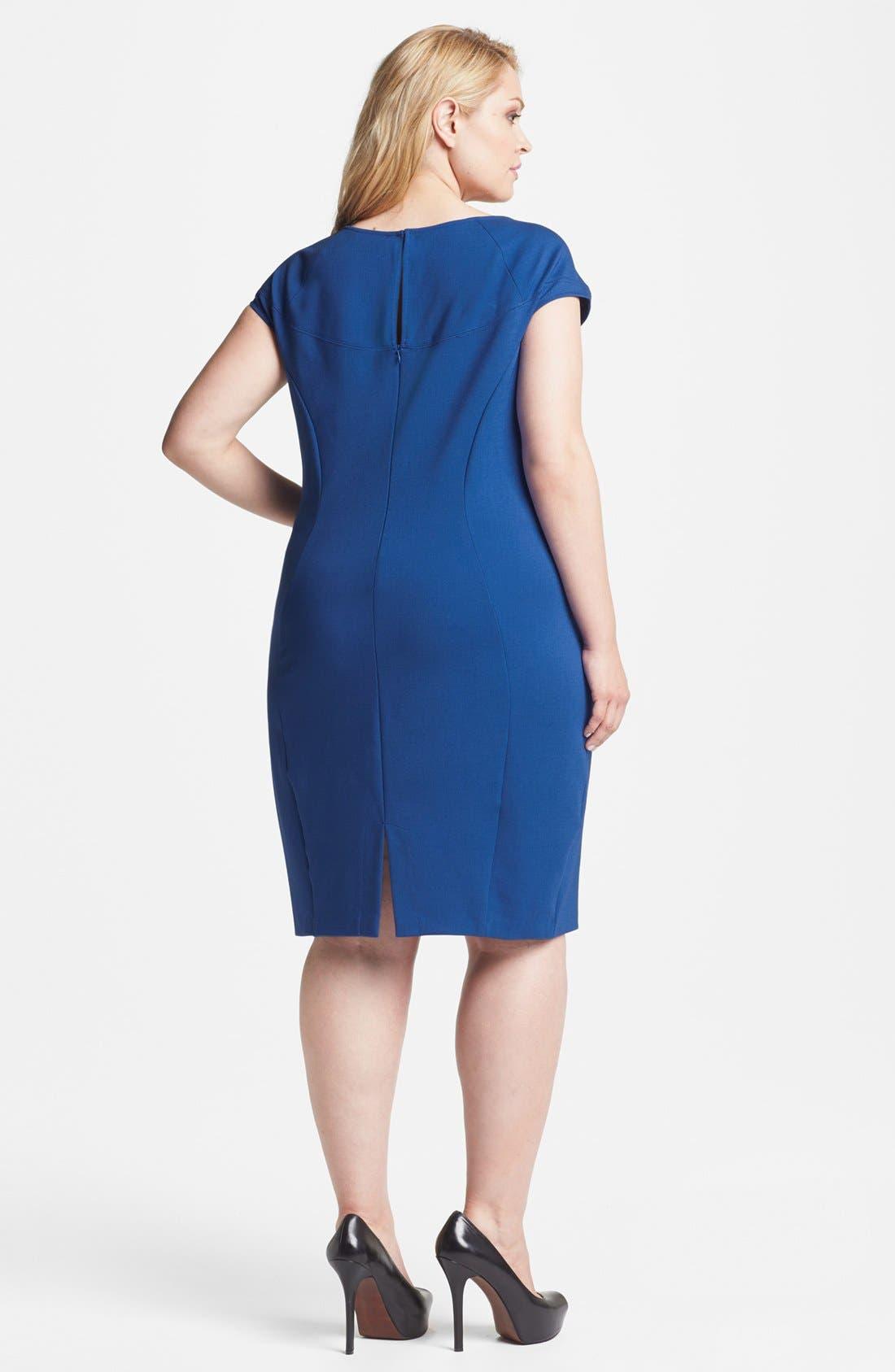 Fitted Ponte Knit Dress,                             Alternate thumbnail 2, color,                             Cobalt