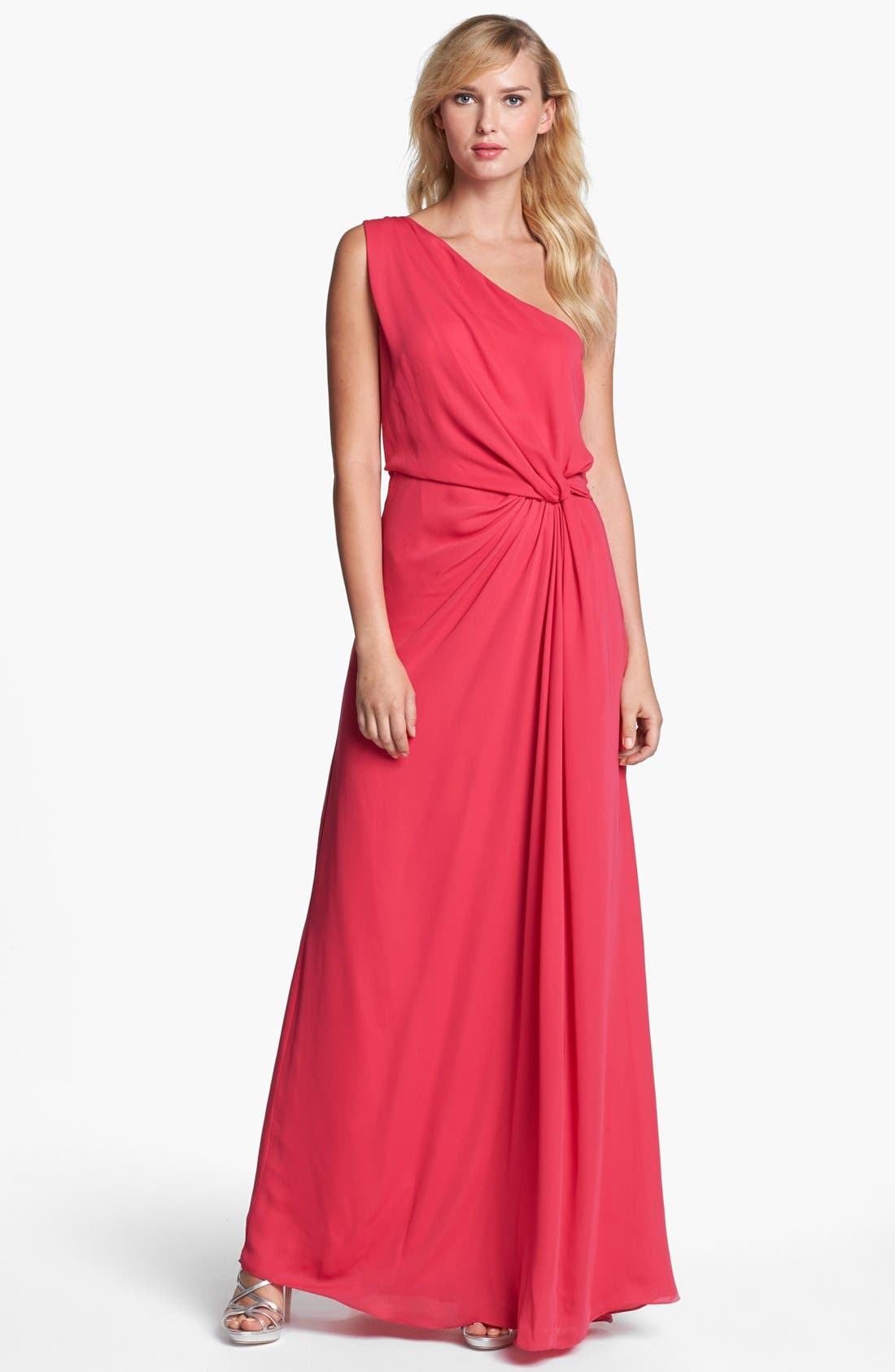 Main Image - Halston Heritage One Shoulder Georgette Gown